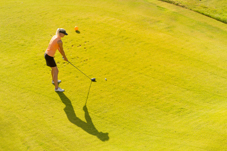 Shadow of a golf player